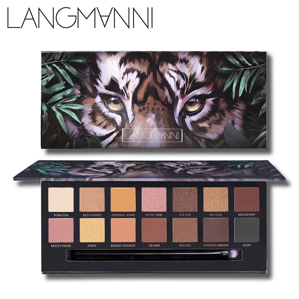 LANGMANNI 14 Colors Tiger Eyeshadow Palette Natural Matte Eye Shadow Makeup Glitter Animal Nude Pallete Cosmetics High Pigment