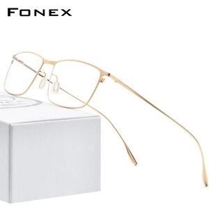 FONEX Titanium Alloy Glasses Men Square Myopia Prescription Eyeglasses Frames 2020 New Full Optical Korean Eyewear 8105