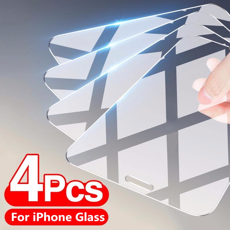 4 шт. закаленное стекло для iPhone 11 12 Pro XS Max X XR полное покрытие Защита экрана для iPhone 7 8 6 Plus SE 2020 защитное стекло