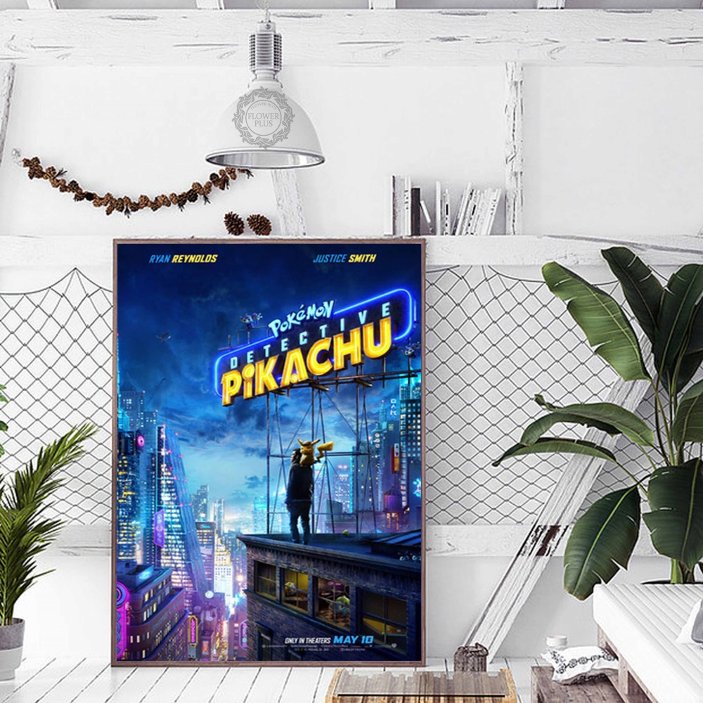 Pokemon Detective Pikachu Hot New Movie Art Painting Silk Canvas Poster Wall Home Decor
