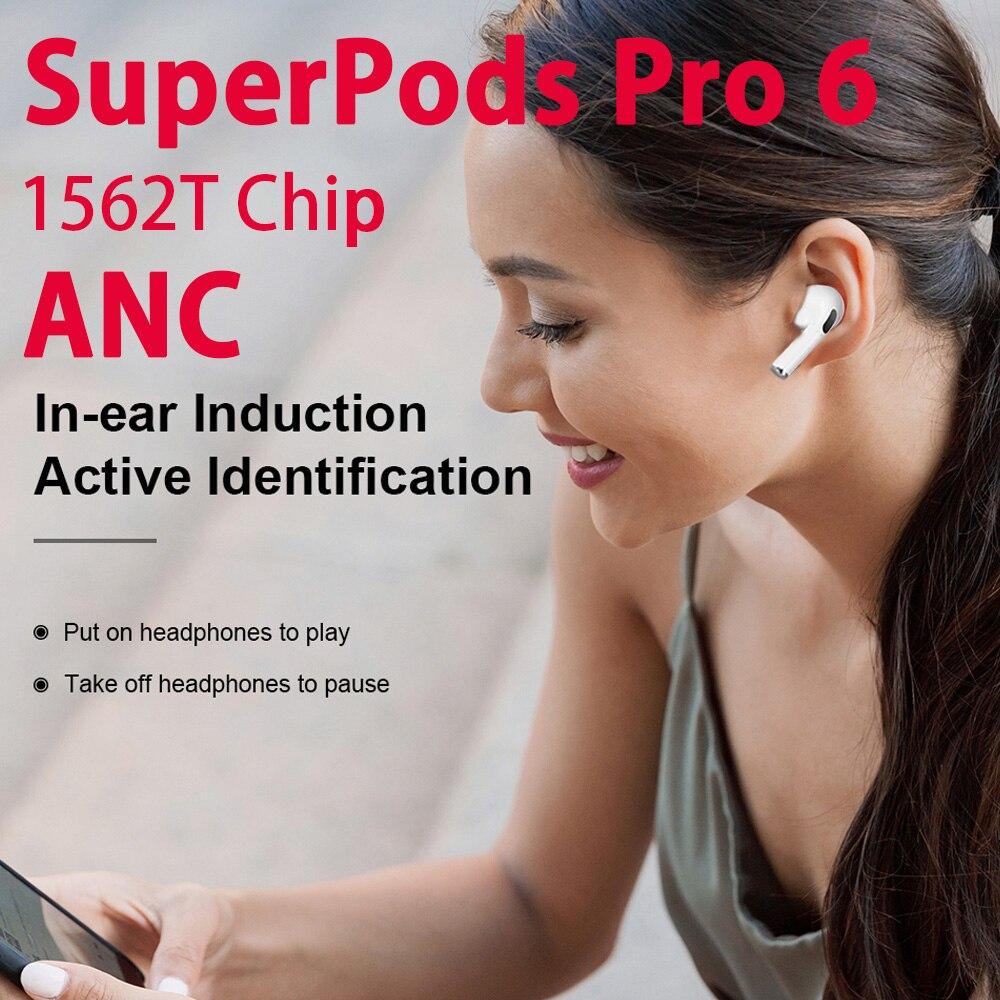 Наушники SuperPods Pro 6 TWS 45db Dual ANC, беспроводные Bluetooth-наушники, пространственное аудио, шумоподавление, 12DSuper Bass 1562T Chip