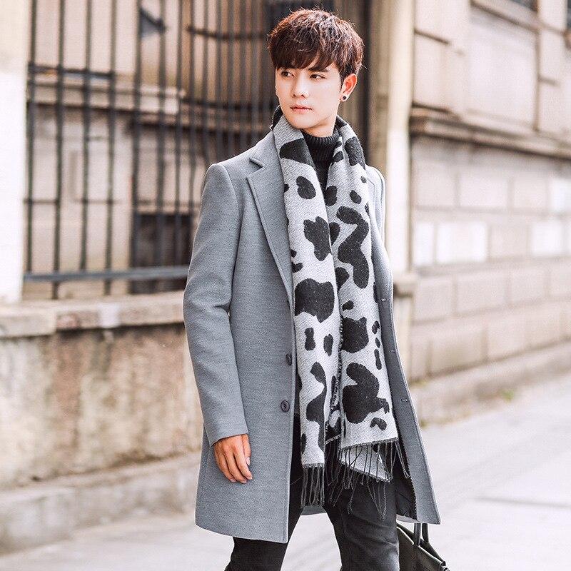 Wool Blend Men's Coat Woollen Overcoat Winter Autumn Men Coat Fashion Brand Clothing Lined Warm Woolen Overcoat Male MOOWNUC 5XL - 5