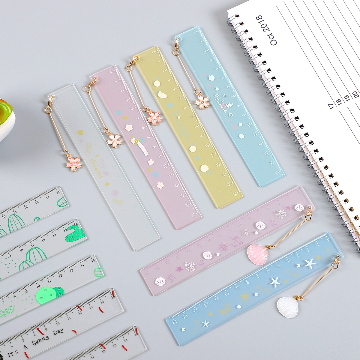 JIANWU 1pcs Simple Cute Style 15cm Transparent Acrylic Hanging Ruler Simple Ruler Square Ruler Kawaii Bookmark Ruler