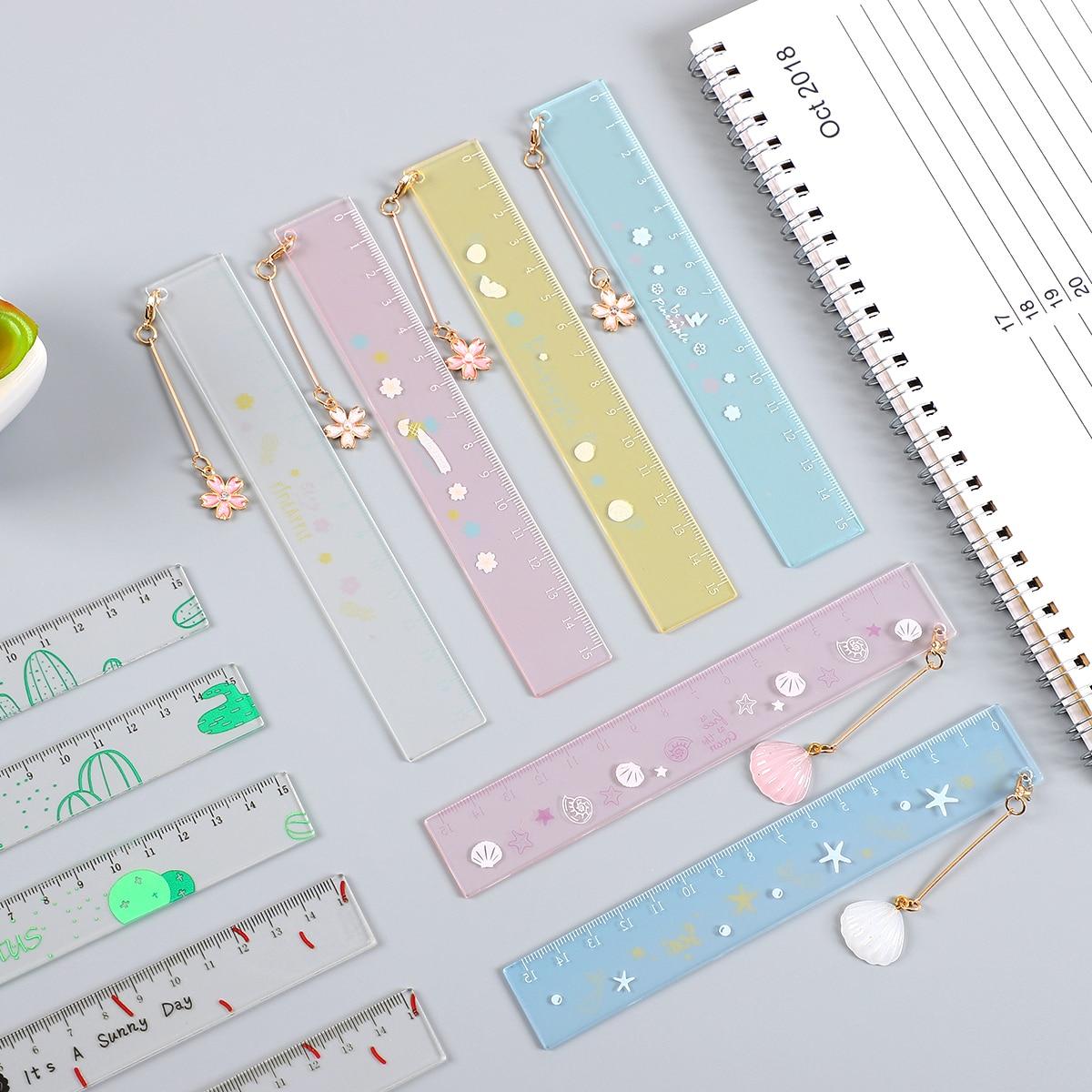 JIANWU 1pcs Simple Cute Style 15cm Transparent Acrylic Hanging Ruler Simple Ruler Square Ruler Kawaii Bookmark Ruler