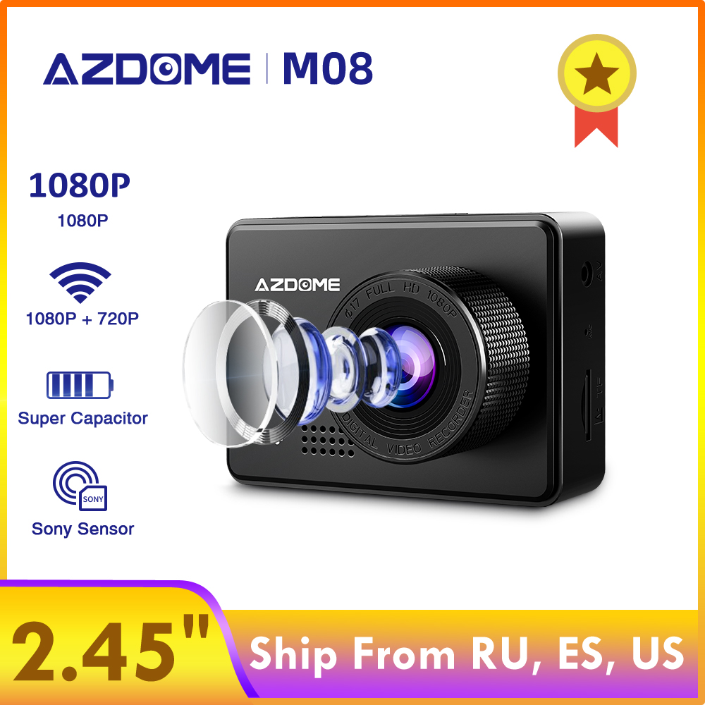 "AZDOME M08 1080P Dash Cam Super Capacitor 2.45"" IPS Car Camera with WiFi WDR Sony Sensor Car DVRs Recorder Night Vision Dashcam"