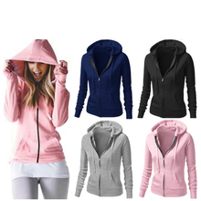 Women Zipper Hooded Loose Women Hoodie Fall Winter Sweatshir