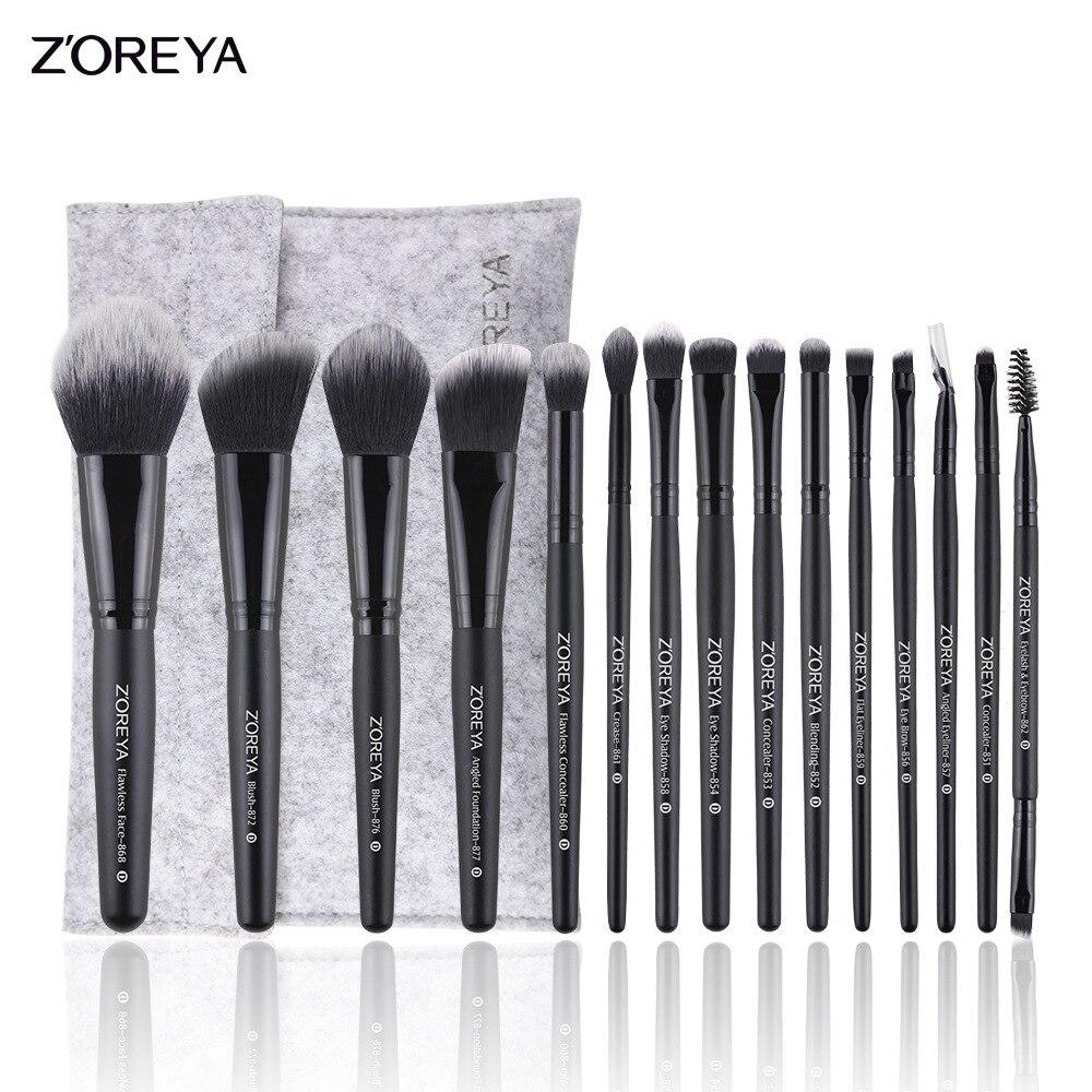 ZOREYA 15pcs Pincéis de Maquiagem Profissional Definida Fundação Blush Sombra Natural Cerdas Macias Escova Cosmética Make Up Tools