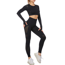 Seamless Yoga Suit 2 piece Sports Shirts Crop Top Seamless Leggings Sport Set Gym Clothes Fitness Tracksuit Workout Set Femme