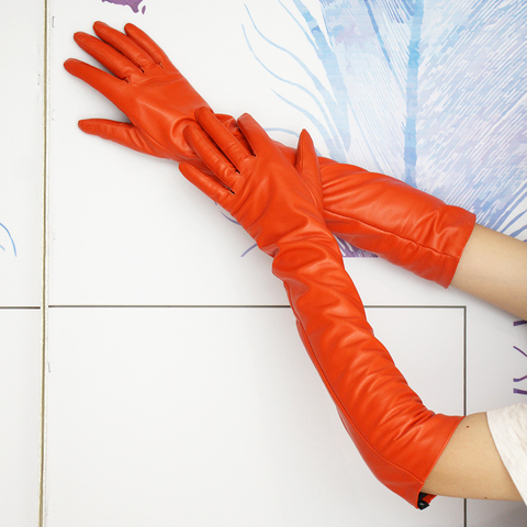 Оранжевые женские перчатки теплее длинные натуральные кожаные