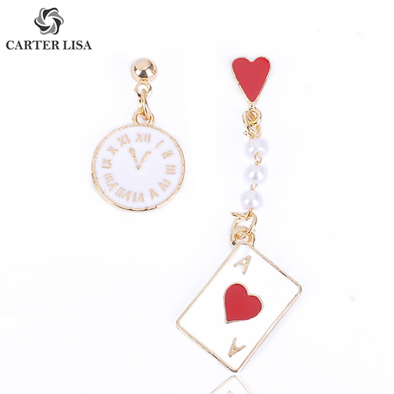 CARTER LISA Unique Playing Card Clock Asymmetry Drop Earrings For Women Ethnic Bohemian Jewelry Party Personality Gifts