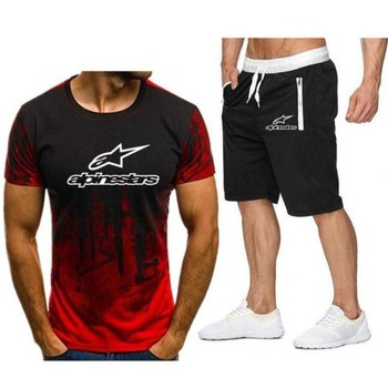 Summer new camouflage T-shirt shorts suit male fitness training short-sleeved sportswear Alpinestar printed casual