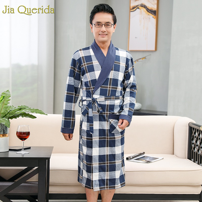 Luxury Men Robe Plaid Elegant Men's Nightgown Long Sleeve Lapel Winter Autumn Bath Robes 100% Cotton Bathrobe Kimomo Male's Robe
