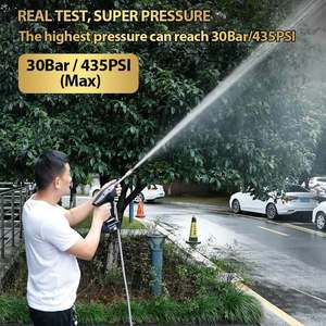 Image 2 - 22 30 BAR Rechargeable Washing Pump Cordless Car Washer Mashine High Pressure Nozzle Hose Cleaner Water Gun For Makita Battery