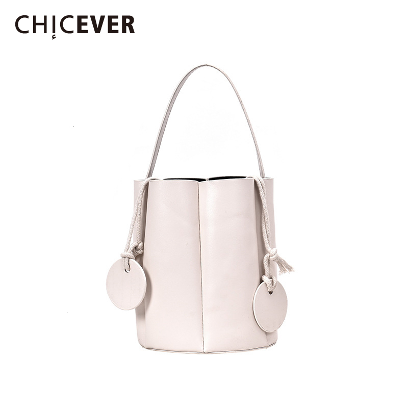 CHICEVER Casual White Korean PU Leather Bag For Women Handbag Lace Up Elegant Bags Accessories Fashion New Clothing 2019