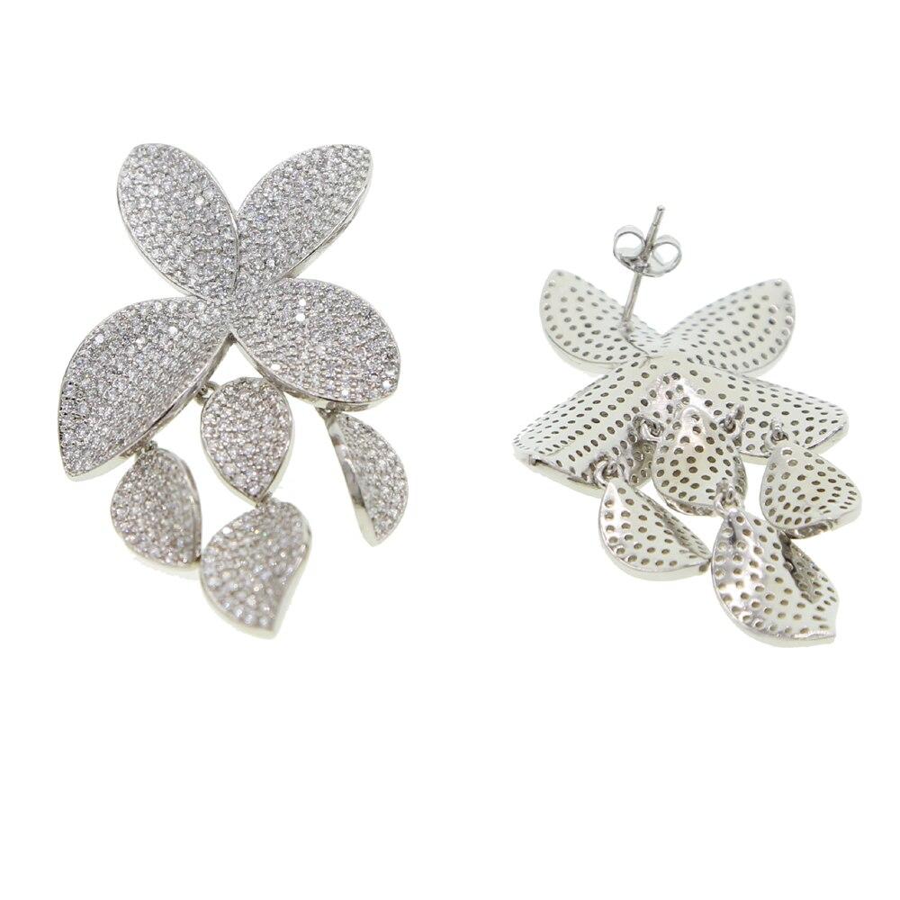 LUXURY High quality women jewelry micro pave cz sparking cz leaves flower drop dangling women earring