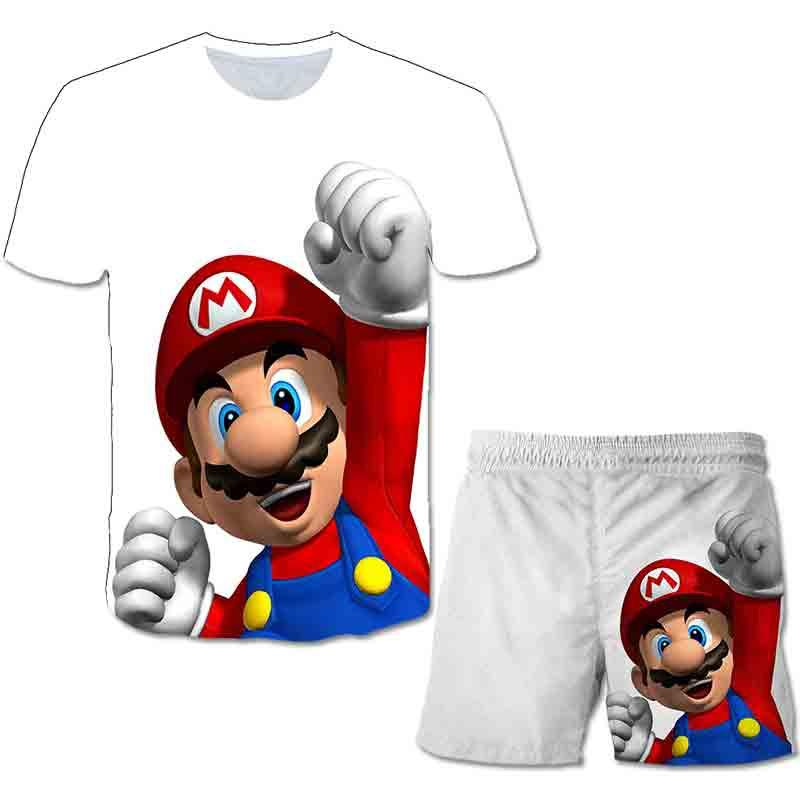 2021 Mario Cartoon Baby Girls Boys Kids Summer Hot Sale Polyester Clothes Short Sleeve T-shirt +shorts Outfits Set 4-14 Year Old