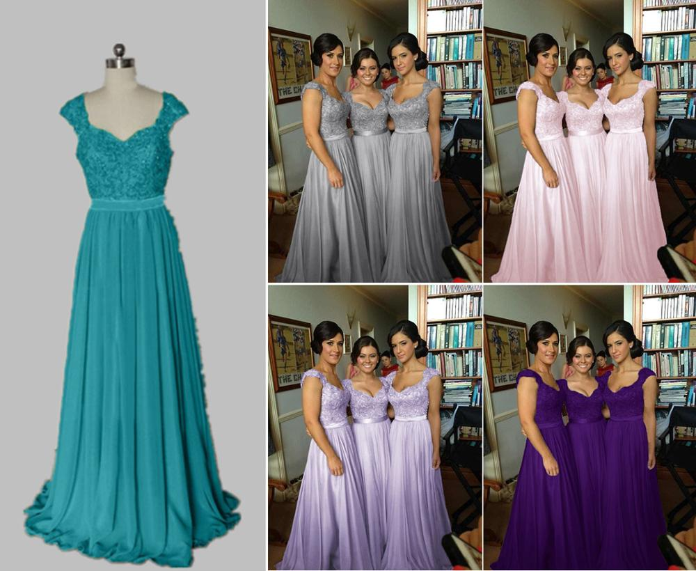 New Stock Clear Chffon A Line Cap Sleeve Sashes Beading Sequines Bridesmaid Dresses Wedding Party Dress Size 4 6 8 10 12 14 16