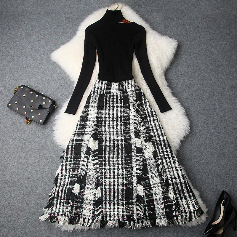 High Quality Women's Skirt Suit Autumn Winter High-necked Knitting Sweater + Vintage Fringed Tweed Skirt Two-piece Set Female