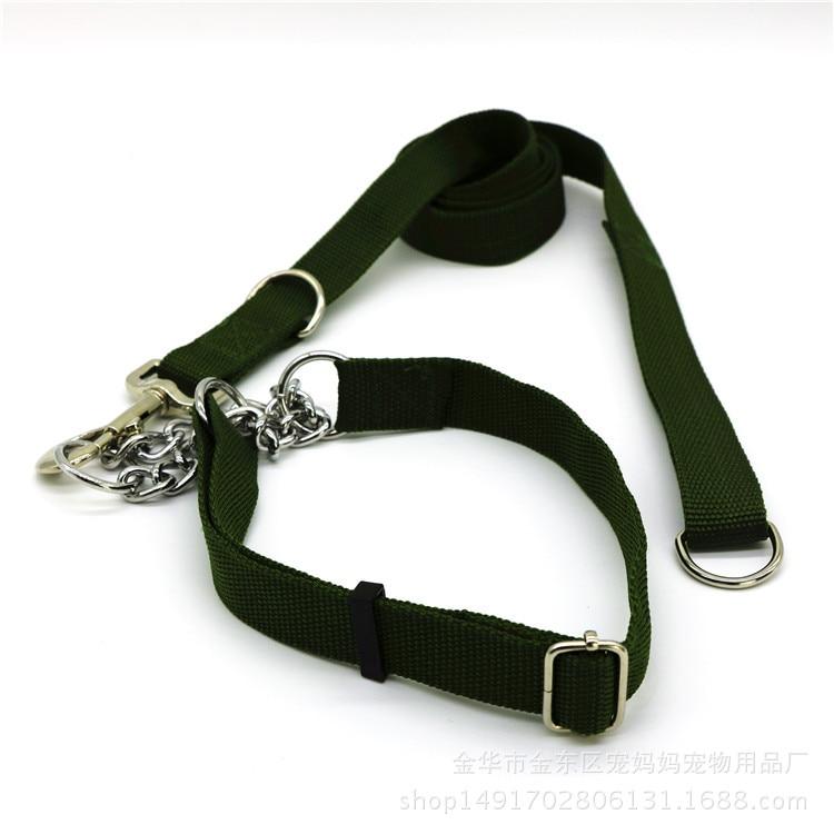 New Style Regulation Length Army Green Neck Ring P Pendant Medium Large Dog Traction Belt Puppy Lanyard Dog Pendant Sub-Pet Trac