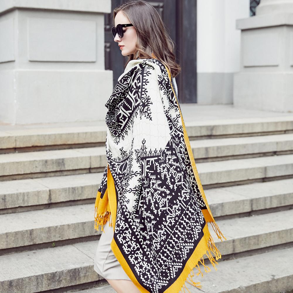 Image 4 - ウール女性スカーフストールエレガントな Carf  暖かいショールバンダナスカーフ高級ブランドイスラム教徒ヒジャーブビーチブランケットフェイスシールドスカーフ     グループ上の アパレル アクセサリー からの レディース スカーフ の中