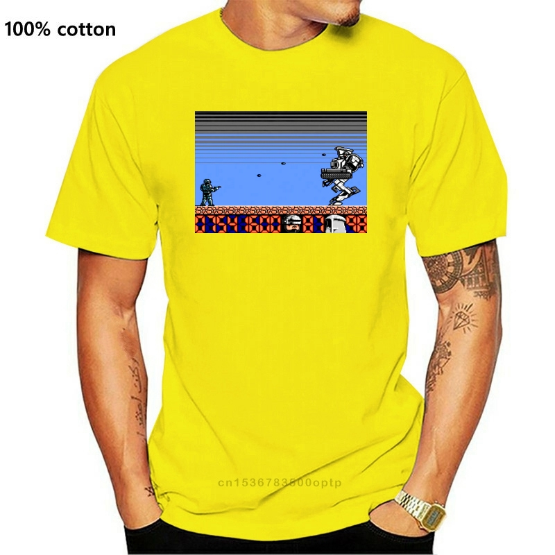 Robocop 2 FINAL BATTLE screen NES game T shirt BLACK S-5XL ALL SIZES NEW!!! Men Brand Clothihng Top Quality Fashion