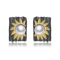 GEM'S BALLET Real 925 Sterling Silver Handmade Sun Flower Earrings Natural Freshwater Pearl Clip Earrings For Women Fine Jewelry