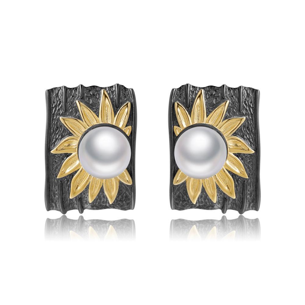 GEM'S BALLET réel 925 en argent Sterling à la main soleil fleur boucles d'oreilles naturel d'eau douce perle Clip boucles d'oreilles pour les femmes beaux bijoux