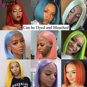 613 Blonde Short Bob Wigs Lace Front Human Hair Wigs Pre Plucked With Baby Hair Brazilian Straight Remy Hair 5*1 Lace Bob Wig 6