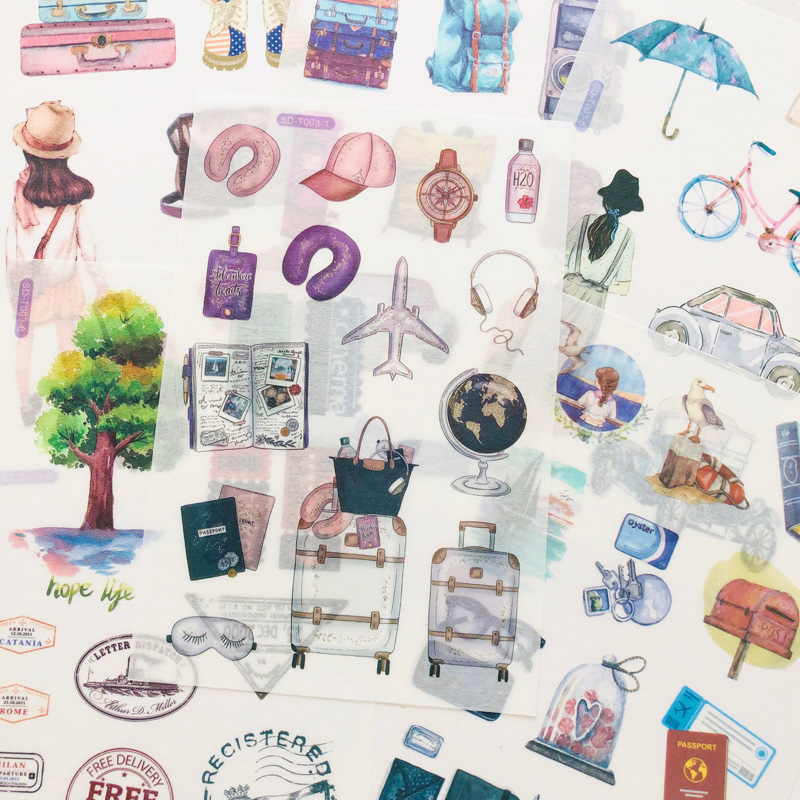 6 Sheets Journey Memory Bags Suitcase Paper Sticker Adhesive Stick Label