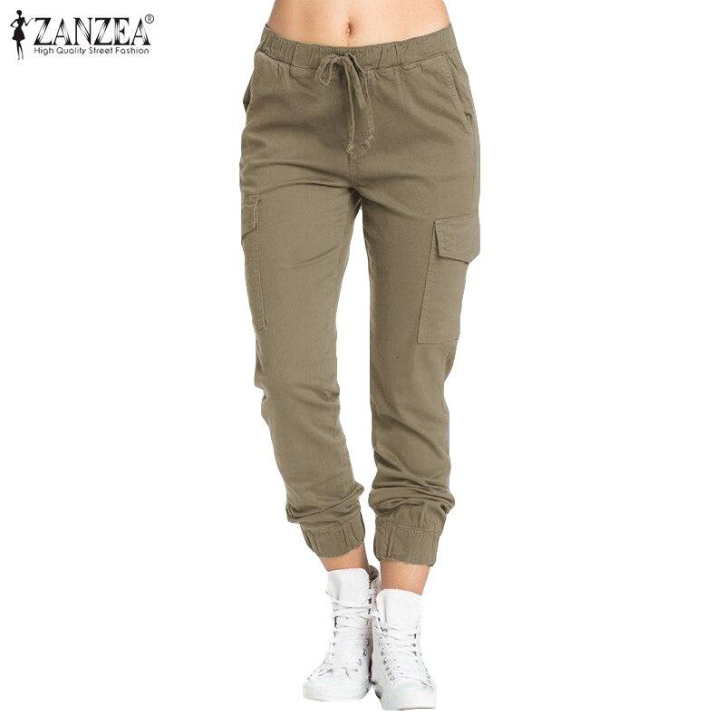 ZANZEA Women Long Pants Ladies Casual Drawstring Elastic Waist Long Trousers Loose Pockets Pantalones Streetwear Plus Size 5XL 7