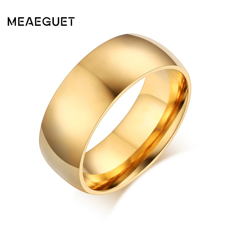 8mm 6mm 4mm Width Smooth Gold Silver Color Wedding Ring Stainless Steel Metal Women Men Jewelry