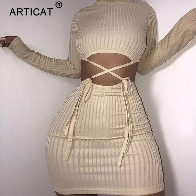 Articat A Costine Scava Fuori O Collo Del Vestito Coulisse Per Le Donne Solido A Manica Lunga Mini Vestiti Scarni Partywear Femminile Abiti