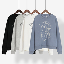 Toppies Woman Abstract Character Embroidered Pullover Sweatshirts 2020 Autumn Winter O-neck harajuku Fleece Hoodies