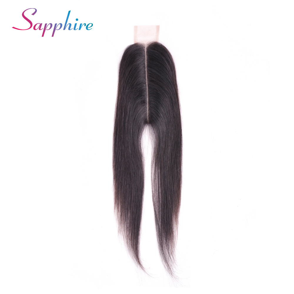 Sapphire Human Hair Closure Brazilian Straight Closure 2x6 Lace Closure 100% Human Hair Bleached Knots With Baby Hair Non Remy