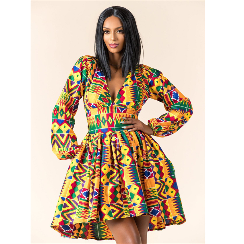 Ladies Clothes African 2020 News Full Sleeve V-neck Dashiki Full Sleeve Autumn Ankara African Dresses For Women Plus Vestidos
