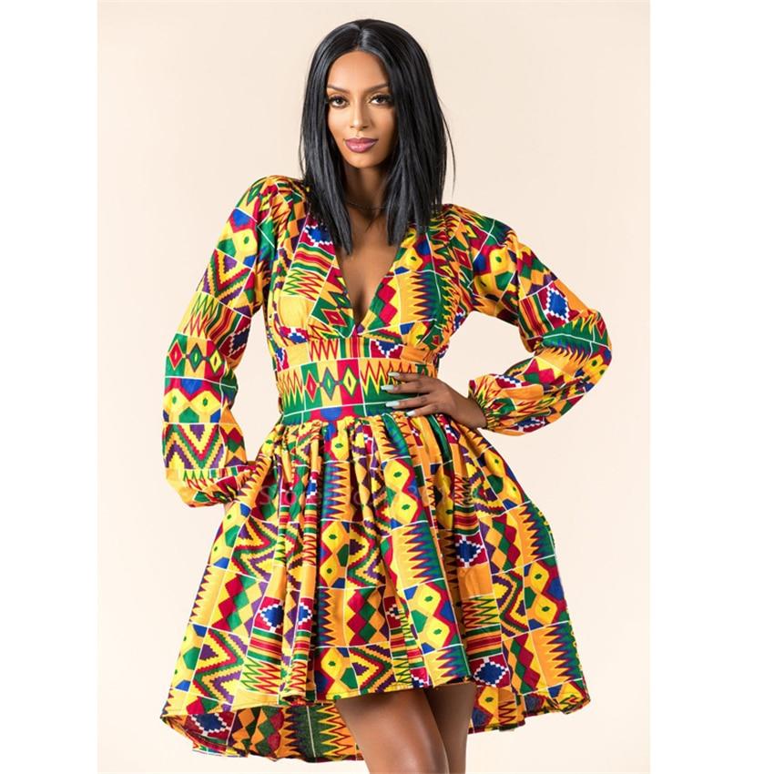 Ladies Clothes African 2020 News Full Sleeve V-neck Dashiki Full Sleeve Autumn Ankara African Dresses For Women Plus Vestidos