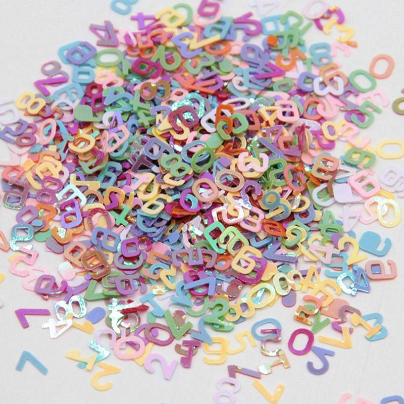 5*6mm Arabic Numbers Sequins English Alphabet Letters Paillettes Coloful PVC Sequin for Children DIY Toys Accessories 10g/bag