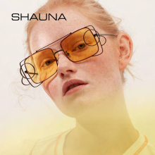 SHAUNA Unique Women Square Sunglasses Brand Designer Avant-g