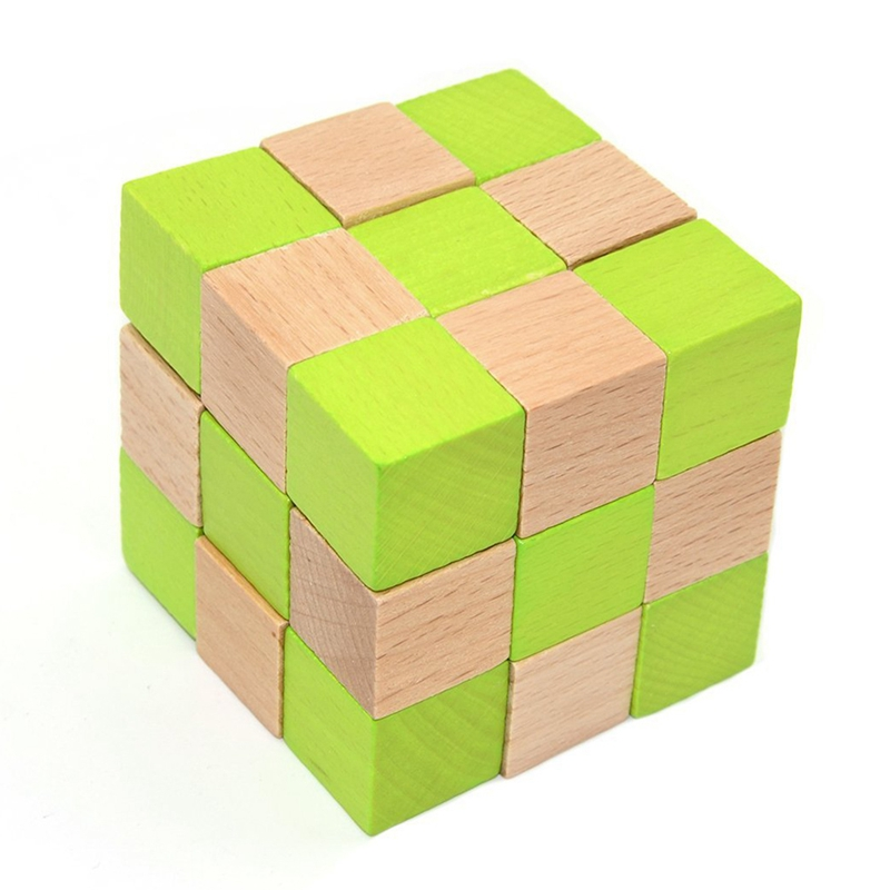 Wood Snake Puzzle Brain Teaser Toy Games For Adults / Kids