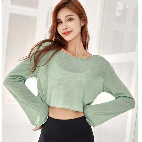 Crop de Manga Folgada e Transluente Fitness para Academia Zhangyunuo Camisa Longa Camiseta Esportiva Feminina Roupa Ioga