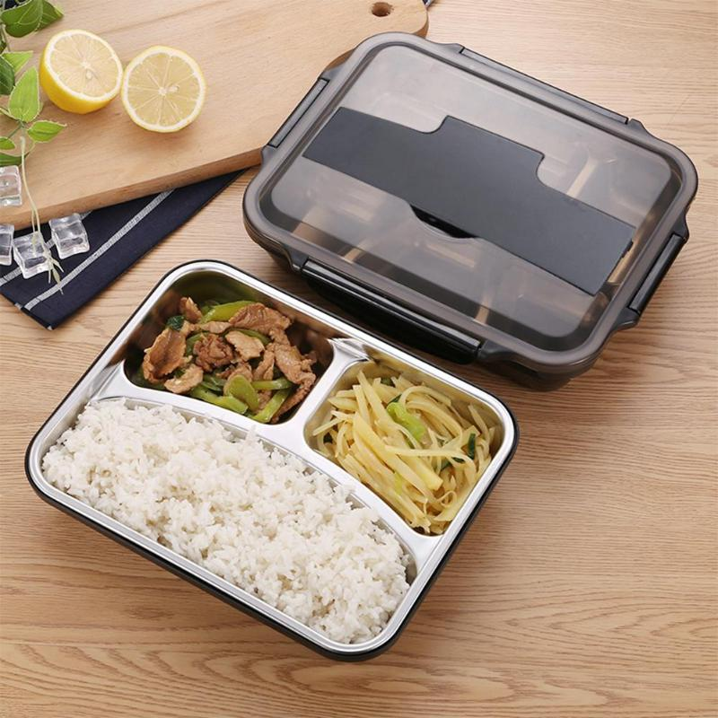 Portable Stainless Steel Bento Box Kitchen Leak-Proof Lunch Box Picnic Office School Insulation Thickened Plaid Food Container