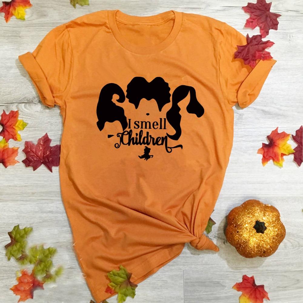 I Smell Children t-Shirt Halloween Hocus Pocus Shirt Women Fall Shirt Sanderson Sister Tee Funny Autumn Shirts
