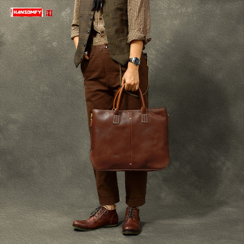 New Handmade High-quality Leatehr Men's Briefcase First Layer Cowhide Handbag Business Laptop Bag Casual Shoulder Messenger Bags