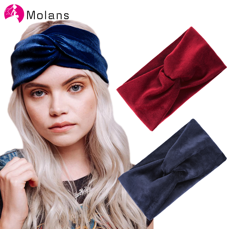 Molans Winter Women Velvet Headband Cross Top Knot Elastic Hair Bands Soft Solid Girls Hair Accessories Twisted Knotted Headwrap