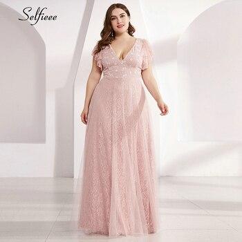 Plus Size Lace Dress Women A-Line Ruffles Short Sleeve Double V-Neck Tulle Elegant Long Formal Party Dress Vestidos Formales plus size short sleeve lace shift dress