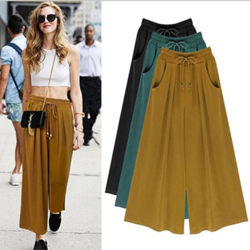 Women Summer Wide Leg Loose Pants Thin Trousers Black Ankle Length Pants Casual Trouser Elastic Waist Pants Femme Plus Size
