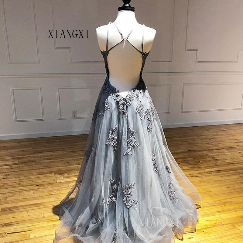 Gray Evening Dress 2019 A-Line Lace Appliques Backless Long Evening Dresses Formal Gowns Party Dress Robe de soiree
