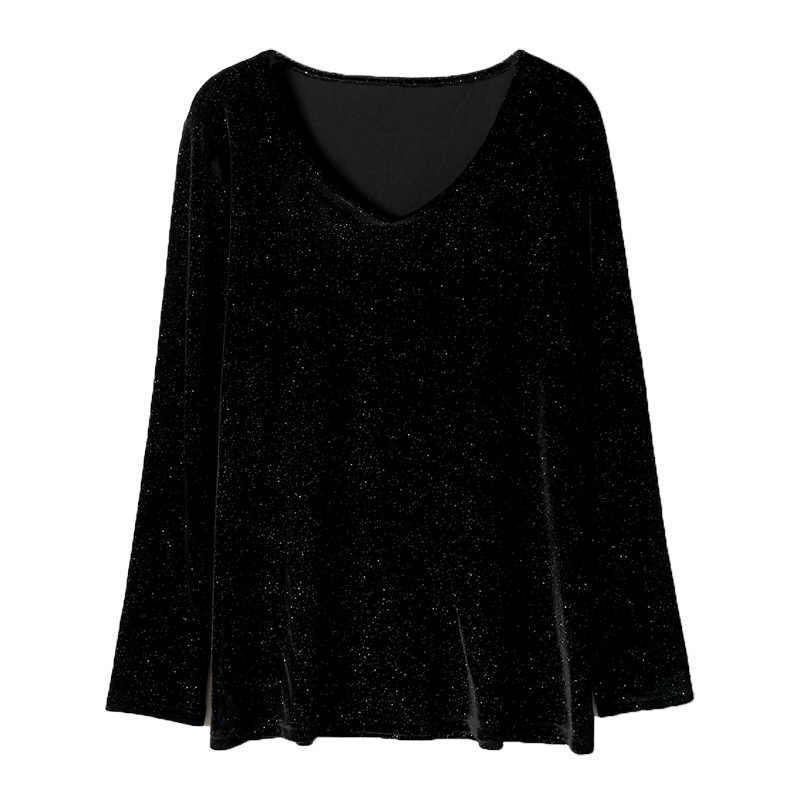 2019 neue herbst winter plus größe tops für frauen langarm casual lose v-ausschnitt glitzernde T shirt schwarz 3XL 4XL 5XL 6XL 7XL 8XL