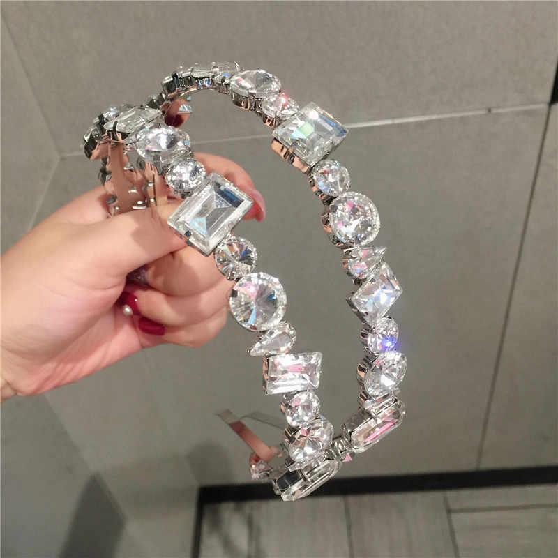 Baroque คริสตัล Rhinestone Headbands สำหรับอัญมณีอัญมณีมงกุฎดอกไม้ Hairband แฟชั่น BEZEL อุปกรณ์เสริมผม Headwarp