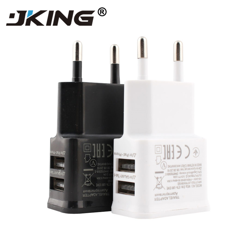 EU <font><b>plug</b></font> 5V 2A Dual USB Universal Mobile Phone Chargers <font><b>Travel</b></font> Power Charger <font><b>Adapter</b></font> <font><b>Plug</b></font> Charger for iPhone for Android image
